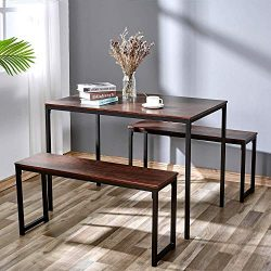 AMERLIFE Dining Table Set with 2 Benches Modern Wood Top Studio Soho Kitchen 3 Piece Dining Furn ...
