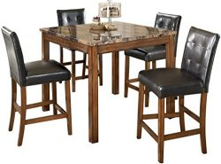 Signature Design by Ashley – Theo Dining Room Table and Barstools – Counter Height & ...