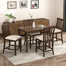 LZ LEISURE ZONE 5-Piece Counter Height Dining Set, Wood Dining Table and 4 Chairs, with Upholste ...