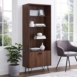 Walker Edison Furniture Company Mid-Century Modern Tall Accent Cabinet Shelves Living Kitchen Di ...