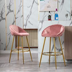 chairus Tufted Kitchen Bar Height Stools Chairs, Upholstered Velvet Dining High Barstools with B ...