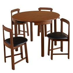 Target Marketing Systems Zuma Collection Compact Set 5-Piece Round Nesting Dining Table & Ch ...