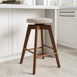 Nathan James Amalia Backless Kitchen Counter Height Bar Stool, Solid Wood with 360 Swivel Seat,  ...