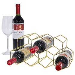 Tabletop Honeycomb Wine Rack – 9 Bottle Wine Holder for Wine Storage – No Assembly R ...