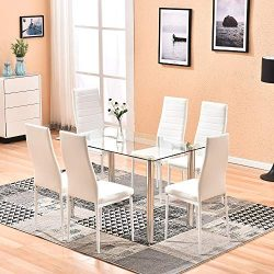 4HOMART Dining Table with Chairs, 7 PCS Glass Table Set Modern Tempered Glass Top Table and PU L ...
