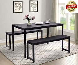 Merax 3-Piece Dining Table Set Kitchen Table with Two Benches,47″ L x 30″ W Kitchen  ...
