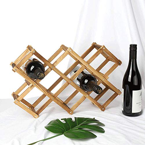 OSLAMP 10 Slot Countertop Wine Rack Table Top Foldable Bottle Holder Wine Stand Storage Display  ...