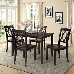 Romatpretty 5 Piece Wood Dining Table Set for 4 Person Home Kitchen Table and Chairs , Perfect f ...