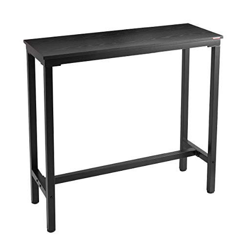 Mr IRONSTONE 39.4″ Bar Table Pub Dining Height Table Black Bistro Table (Indoor USE ONLY)
