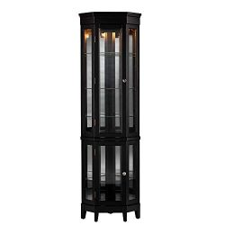 Transitional Black Curio Corner Display Cabinet with 4 Adjustable and 2 Fixed Shelves – In ...