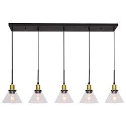 Banato 5 Lights Pendant Lighting for Kitchen Island Modern Chandeliers Black and Brushed Brass D ...