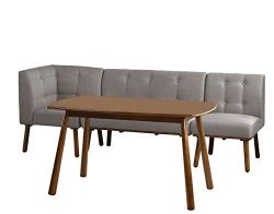 Target Marketing Systems Playmate Modern Breakfast Nook Corner Tufted Dining Room Set, 4 Piece, Gray