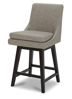 CHITA Counter Height Bar Stool, Faux Leather Upholstered Swivel Stool with High Back & Solid ...