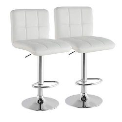N2 Bar Stools Set of 2 Modern Swivel Adjustable Armless Barstools Leather Swivel Hydraulic Squar ...
