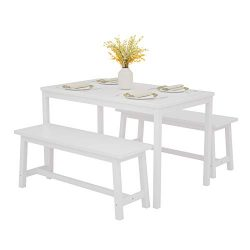 Mecor 3-Piece Dining Set Table with 2 Benches, Solid Pine Wood Tabletop and Benches for Home Kit ...
