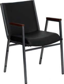 Flash Furniture HERCULES Series Heavy Duty Black Vinyl Stack Chair with Arms