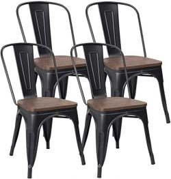 Metal Dining Chair Stackable Industrial Vintage Kitchen Chairs Indoor-Outdoor Bistro Cafe Side C ...