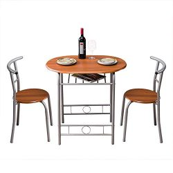 Bonnlo 3 Pieces Dining Set- Space Saving Breakfast Table Set Table and 2 Chairs Bistro Pub Table ...