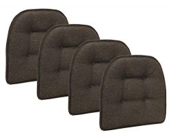 Klear Vu Omega Gripper Tufted Furniture Safe Non-Slip Dining Chair Cushion, Chestnut, 4-Pack