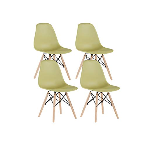 Future Assembled Modern Minimalist Style Dining Chairs,Plastic Seat Wood Legs for Kitchen,Living ...
