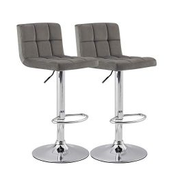 KYOTECH Modern Square Grey Flannel Adjustable Bar Stools with Backs, Set of 2, Counter Height Sw ...