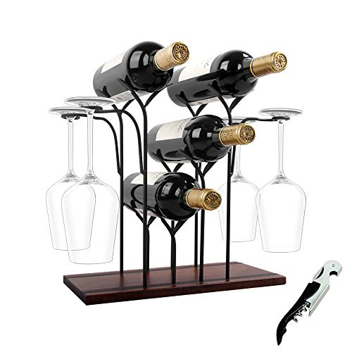 WILLPOWER Wine Rack Countertop, 4 Bottles Wine Holder Storage Stand with 4 Glasses, Rustic Wood  ...
