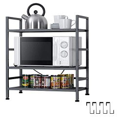 EKNITEY Kitchen Shelving,Adjustable Kitchen Baker's Rack Microwave Oven Stand Utility Meta ...