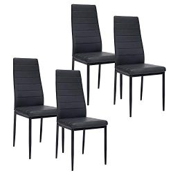 Dining Chairs PU Leather High Back with Steel Frame Legs Chairs for Kitchen Living Room Bedroom  ...