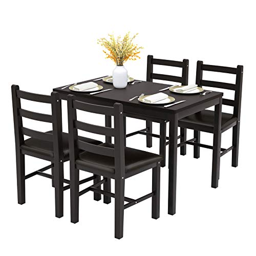 Mecor 5 Piece Wood Kitchen Dining Table Set, 4 PU Leather Cushion Chairs Pine Wood Dinette Table ...