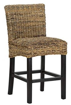 Kosas Home Portman Counter Stool, Height: 24″, Multi Brown seat and Black Legs