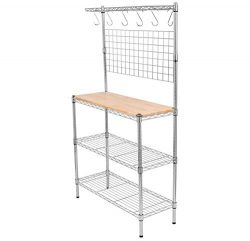 BIRDROCK HOME 3-Tier Baker's Rack Shelf – Chrome – Kitchen Storage Shelving &# ...