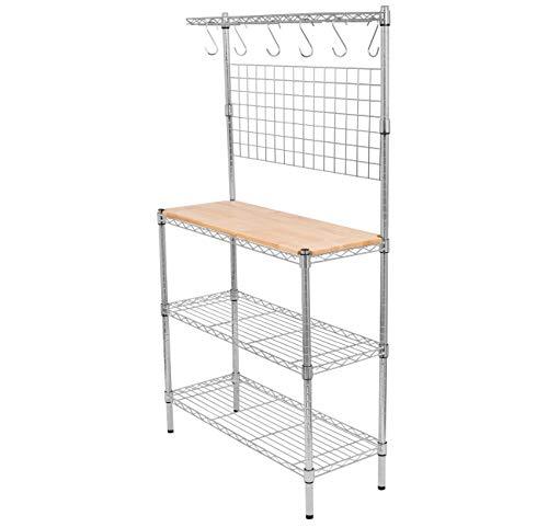 BIRDROCK HOME 3-Tier Baker's Rack Shelf – Chrome – Kitchen Storage Shelving &# ...