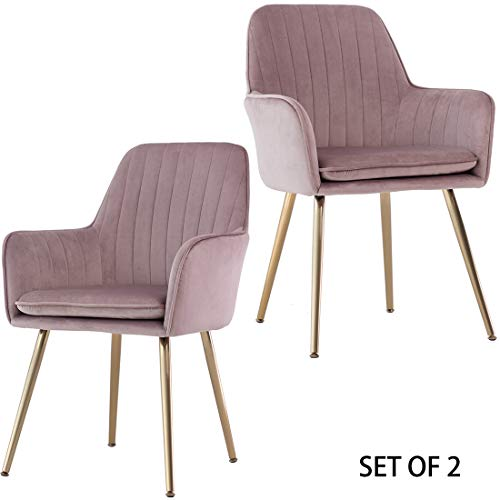 GOLDEN BEACH Set of 2 Elegant Velvet Dinning Chair Mid-Back Support Accent Arm Chair Modern Leis ...