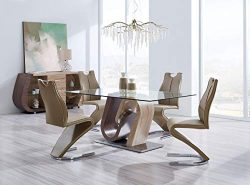 Global Furniture – D4126 Modern 5-Piece Dining Room Set – Dark Brown/Light Brown Finish