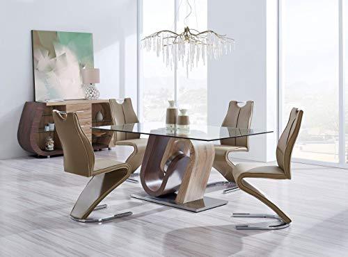 Global Furniture – D4126 Modern 5-Piece Dining Room Set – Dark Brown/Light Brown Finish