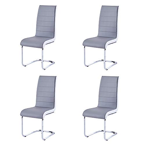 Enjowarm Dining Chairs Set of 4 Grey White Sides Faux Leather Modern Kitchen Chairs Metal Chrome ...