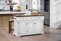 OSP Home Furnishings Cocina Kitchen Island, White/Brown