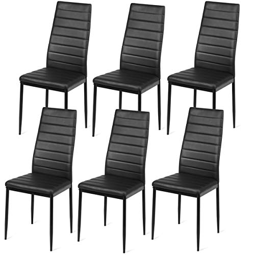 Giantex Set of 6 Dining Chairs with Steel Frame High Back PU Leather, Elegant Design for Home Ki ...