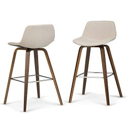 Simpli Home Randolph Mid Century Modern Bentwood Counter Height Stool (Set of 2) in Natural Line ...