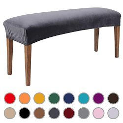 Colorxy Velvet Bench Covers for Dining Room – Stretch Spandex Upholstered Bench Slipcover  ...