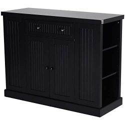 HOMCOM Fluted-Style Wooden Kitchen Island Storage Cabinet with Drawer, Open Shelving, and Interi ...