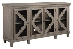 Signature Design by Ashley – Fossil Ridge 4-Door Accent Cabinet – Gray Finish – ...