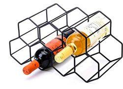 CMDREAM Black Metal Wine Rack Freestanding, Tabletop Wine Rack Holder, Countertop Wine Bottle Ho ...