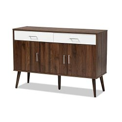 Baxton Studio Leena Two-Tone White and Walnut Wood 2-Drawer Sideboard Buffet