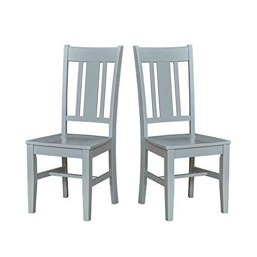 Ravenna Home Classic-Style Solid Pine Dining Chair, 40″H, Gray Finish, Set of 2