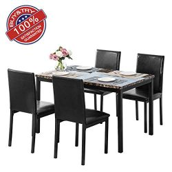 MOOSENG 5 Pieces Dining Table Set, Elegant Faux Mable Desk and 4 Upholstered PU Leather Chairs,  ...