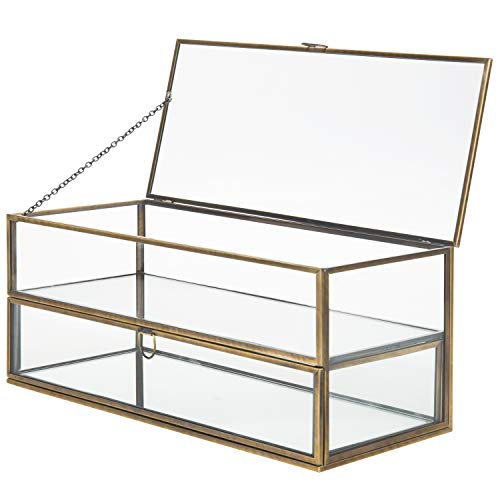 MyGift Vintage Brass Metal & Glass Mirrored Shadow Box Jewelry Display Case