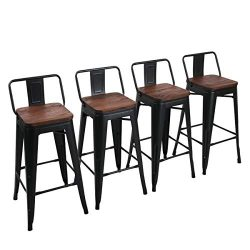 Yongchuang Metal Counter Bar Stools for Indoor-Outdoor(Pack of 4) (30″, Matte Black Wood T ...