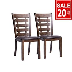 Furgle Set of 2 Dining Side Chair Oak Wood Modern Kitchen Dining Chair With Ladder Back and Upho ...