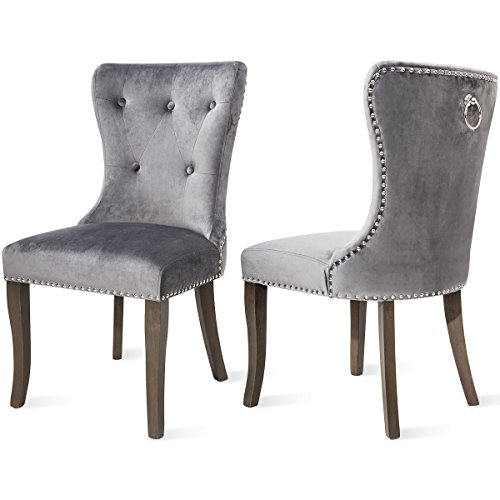 Dining Chairs Set of 2, Upholstered Grey Accent Chair Button Tufted Armless Chair with Nailhead  ...